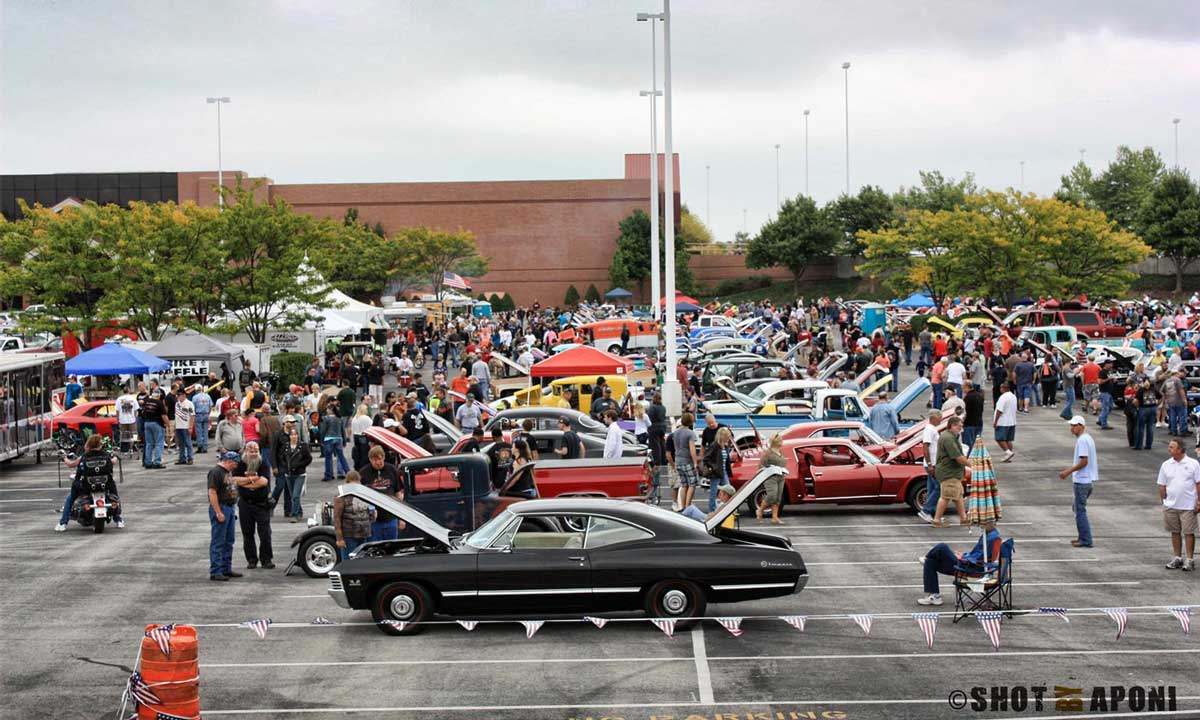 A car show during the Bikes, Blues, and BBQ Rally