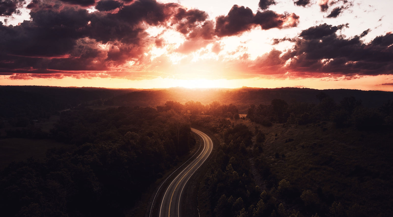 open road sunset
